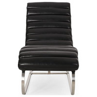 Pearsall Modern Channel Stitch Chaise Lounge, Midnight Black/Silver