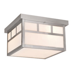 """Mission 12"""" Outdoor Ceiling Light, Stainless Steel and Tiffany"""