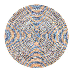 Hand Braided Jute and Denim Striped Area Rug, Blue, 6' Round