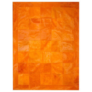 Patchwork Leather Cubed Cowhide Rug, Plain Orange With Border, 200x300 cm