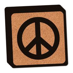 Peace Sign Thin Cork Coaster Set of 4