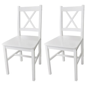Pinewood Dinning Chairs, White, Set of 2
