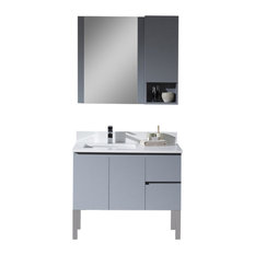 "Monaco 36"" Vanity Set With Chrome Legs, Metal Gray, Left"