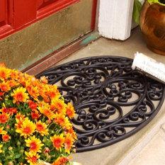 Envelor Home And Garden Non Slip Heavy Rubber Wrought Iron Oval Entrance Welcome Doormat