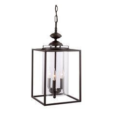 "Kira Home Pandora 21"" Lantern Chandelier, Oil-Rubbed Bronze + Glass Cylinder"