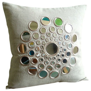 Mirror Beige Cushion Covers, Cotton Linen 30x30 Cushion Cover, Circle Of Life