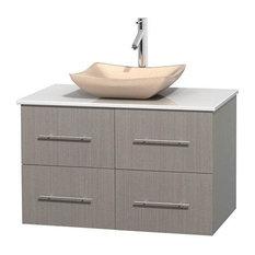 36 in. Bathroom Vanity in Gray Oak with White Countertop