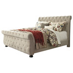 Signature Design by Ashley - Willenburg King Upholstered Bed, Linen - Willenburg Collection by Furniture of America