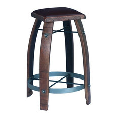 Barrel Stave Stool With Chocolate Leather Top Caramel 28-inch