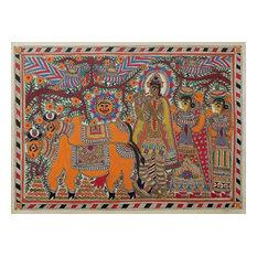 Krishna With Cows Madhubani Painting