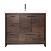 "Mod 42"" Modern Bathroom Vanity With Left Drawer, Rosewood"