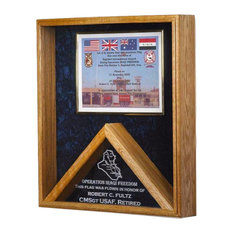 """Military Flag and Certificate Display Shadow Box, """"Operation Enduring Freedom"""""""