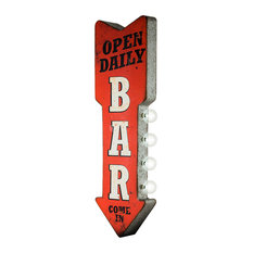 Open Daily Bar Marquee Metal Arrow LED Sign Vintage Decor