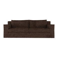Mulberry 7' Crushed Velvet Sofa Chocolate Classic Depth