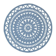 Hallstatt Light Blue Round Hand Braided Rug Outdoor Rugs