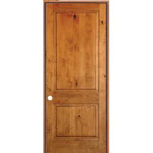 "2-Panel Square Solid Core Knot Alder Prehung Interior Door, 24""x80"", Left-Hand"