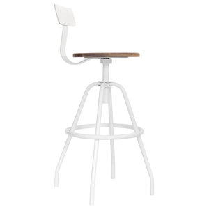 Winter Park Swivel Studio Work Stool, White and Black Walnut, 24""