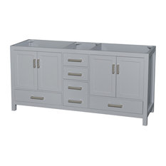 "Sheffield 72"" Double Bathroom Vanity, Gray, No Countertop, No Sink"