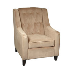 office star avenue six curves tufted accent chair in coffee velvet fabric tufted wingback chair - Tufted Wingback Chair