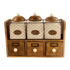 Wooden Cabinet With 3 Jars and 3 Drawers