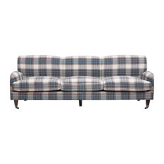 Traditional Sofa Natural Legs And Patterned Upholstery In Brown And Blue Tones