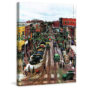 Falls City Nebraska At Christmas Print On Canvas By John Falter Contemporary Prints And Posters By Marmont Hill