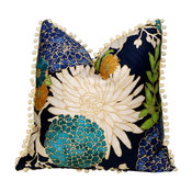 Cotton Pillow, Flower Print and Off White PomPom Trim