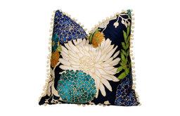 Cotton Pillow, Flower Print and Off White PomPom Trim