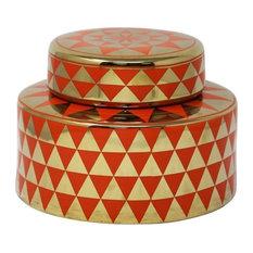 Sagebrook Home Orange/Gold Jar, Triangle Pattern