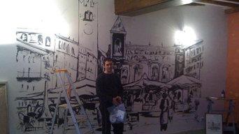 Vérone dessin d'une place d'Italie - murale