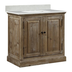 infurniture inc infurniture 36 solid wood sink vanity with arctic pearl quartz - Farmhouse Bathroom Vanity