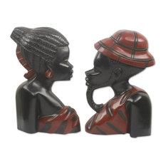 Handmade African Heads  Wood wall adornments (pair) - Ghana