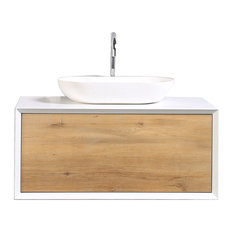 "Santa Monica 36"" White Oak Wall Mount Bath Vanity, White Porcelain Vessel Sink"