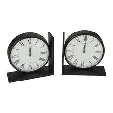 Classic Bookend Clocks, Set of 2
