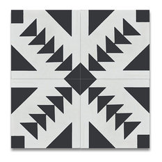 """MOD - 8""""x8"""" Monet Handcrafted Geometric Cement Tiles, Set of 12, Black and White - Wall and Floor Tile"""