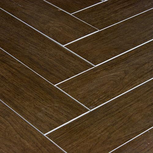 prestige walnut wood plank porcelain wall and floor tile