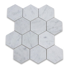 "12.25""x10.75"" Carrara White Hexagon Mosaic Tile Honed, Chip Size 4"""