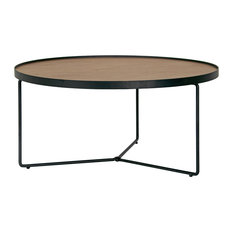 glamour home ailsa walnut brown round rimmed wooden coffee table with black metal frame