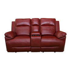 Topher Dual Glider Recliner Loveseat With Storage Console, Red, Power
