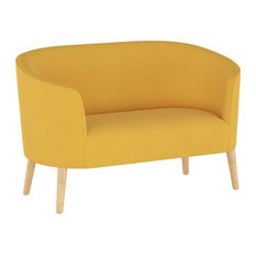 Morgan Curved Settee Linen Yellow