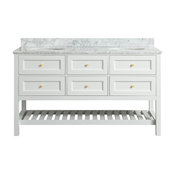 Elma White Bathroom Vanity With Carrara Marble Top, 60""