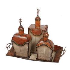 Privilege International 3-Piece Perfume Bottle Set With Tray