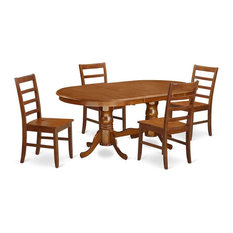 5-Piece Dining Room Set Table And 4 Chairs Without Cushion Saddle Brown