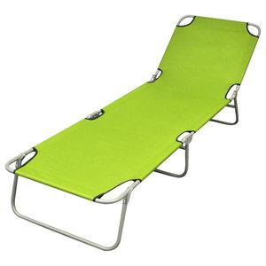 Foldable Sun Lounger With Adjustable Backrest, Apple Green