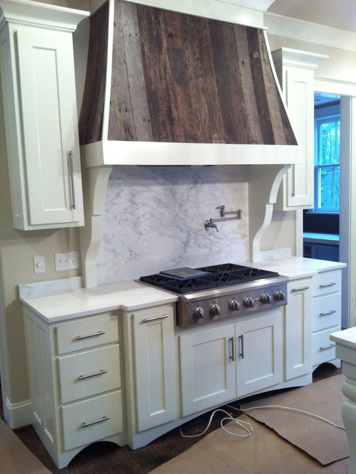 White Painted Cabinets w/ Arched Hood including Reclaimed Barn Wood Slat Accents