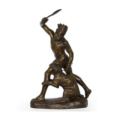 Consigned French Bronze Sculpture of Indian Warrior by Thomas Cartier