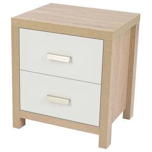 Modern Bedside Table With Oak Finished Frame and 2 White Storage Drawers