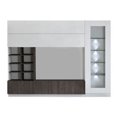 Compact II Modern TV Wall Set, White and Wenge Wood Effect