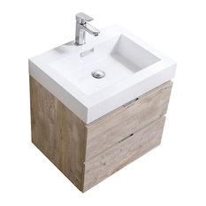 "Bliss 24"" Wall Mount Bathroom Vanity, Nature Wood"