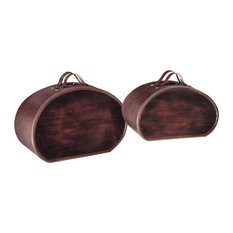 Ambience AM 42224 Decorative Box Set with Brown Alligator finish